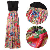 Red Patchwork Flowers Print Draped Deep V-neck Sleeveless Bohemian Maxi Dress