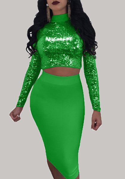 Green Patchwork Sequin Lace Up Christmas Multi Way Clubwear Long Sleeve Midi Dress