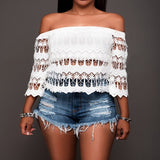 White Floral Lace Wavy Edge Off Shoulder 3/4 Sleeve Oversize Elegant T-Shirt