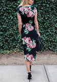 Black Floral Pockets Round Neck Short Sleeve Midi Dress