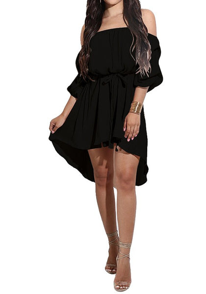 Black Irregular Pleated Off-Shoulder Lace Up 3/4 Sleeve Midi Dress
