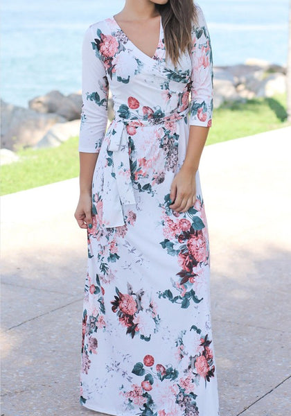 White Floral Sashes 3/4 Sleeve V-neck Bohemian Maxi Dress
