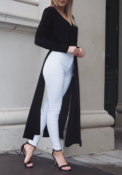 Black Cut Out V-neck Long Sleeve Fashion Maxi Dress