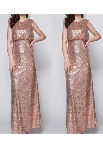 Champagne Sequin Round Neck Elegant Homecoming Party Fashion Maxi Dress