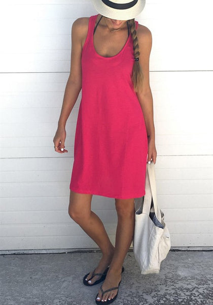 Red Shoulder-Strap U-neck Sleeveless Loose Casual Midi Dress