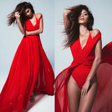 Red Drawstring Cut Out Plunging Neckline Maxi Dress