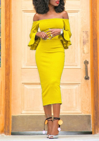 Yellow Bandeau Backless Off Shoulder Flare Sleeve Bodycon Party Maxi Dress