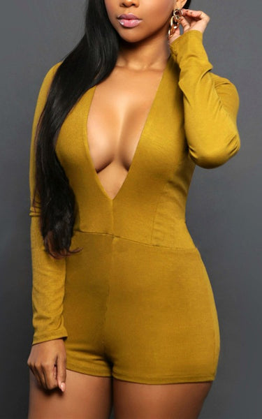 Yellow Zipper Deep V-neck One Piece High Waisted Short Jumpsuit