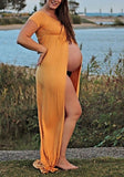 Yellow Draped With Stomach Out Slit Maternity For Babyshower Elegant Maxi Dress