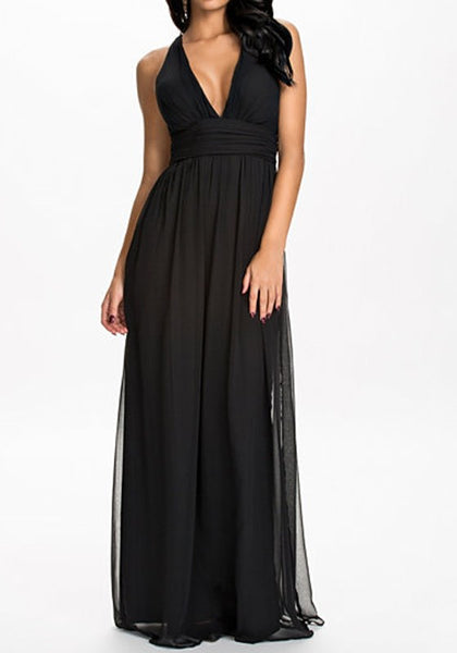 Black Patchwork Cross Back Plunging Neckline Maxi Dress