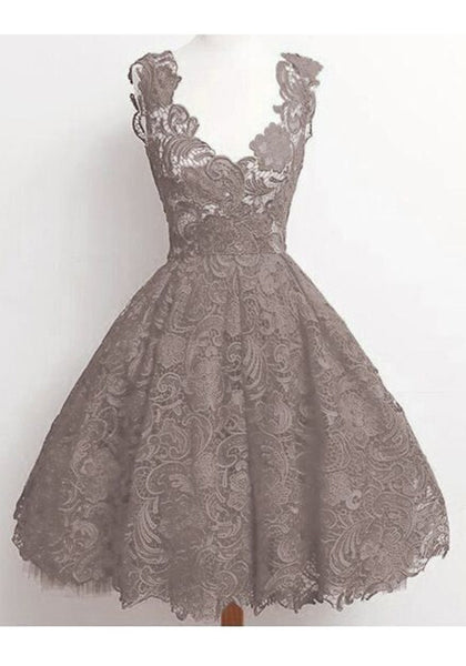 Grey Floral Patchwork Lace Pleated High Waisted Deep V-neck Graduated Homecoming Party Midi Dress