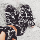 Black Floral Print High Waisted Sports Long Jumpsuit