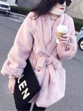 Pink Fur Pockets Sashes V-neck Long Sleeve Elegant Coat