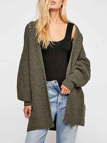 Army Green Cut Out V-neck Long Sleeve Casual Cardigan Sweater