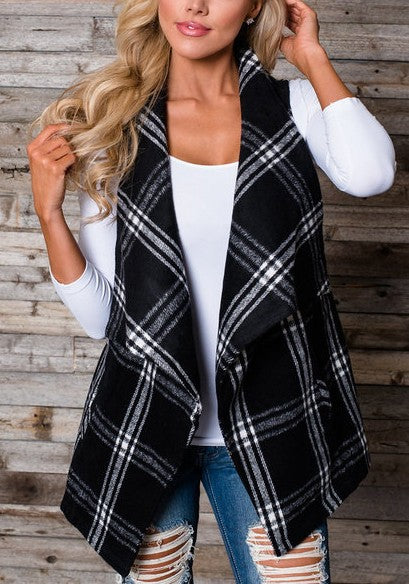 Black-White Plaid No Buttons Irregular Pockets Checkered Waistcoat Casual Cardigan Vest Coat