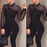 Black Pockets Cut Out Fashion Long Jeans