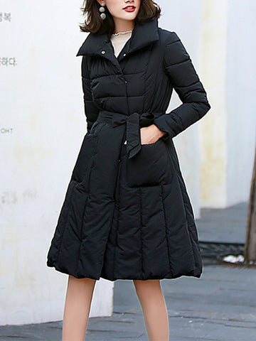 New Black Belt Pockets Double Breasted Turndown Collar Fashion Outerwear
