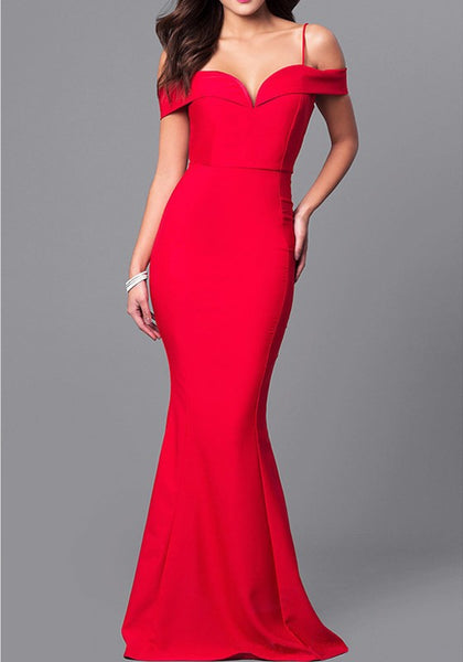 Red Draped Zipper Off Shoulder Spaghetti Strap Elegant Maxi Dress