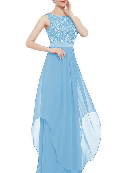 Baby Blue Patchwork Hollow-out Lace Irregular Plus Size Zipper Abendkleid Maxi Dress