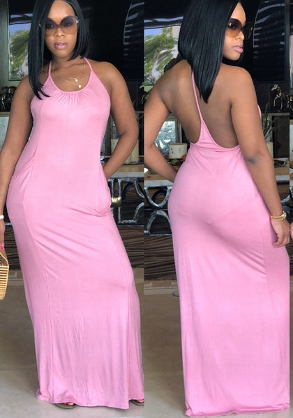 Pink Pockets Spaghetti Strap Backless Beachwear Casual Maxi Dress