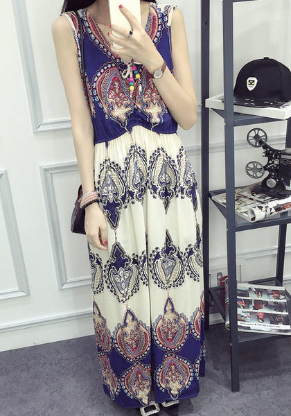 Multicolor Floral Print Draped A-line Sleeveless High Waisted Bohemian Maxi Dress
