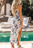 White Flowers Drawstring Double Slit Halter Neck Beach Party Bohemian Maxi Dress