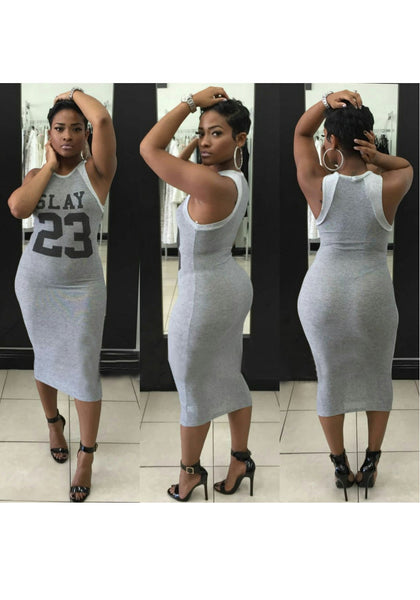 Grey Monogram Round Neck Bodycon Pencil Maxi Dress