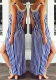 Navy Blue Striped Drawstring Side Slit Maxi Dress