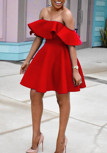 Red Ruffle Pleated Off Shoulder High Waisted Backless Tutu Graduation Party Midi Dress