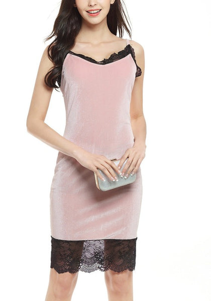 Pink Patchwork Lace Irregular Sleeveless Casual Midi Dress