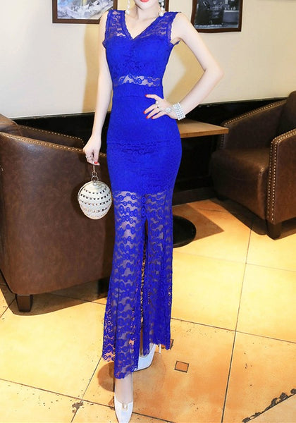Blue Patchwork Lace Hollow-out Slit See-through V-neck Maxi Dress