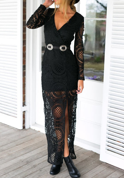 Black Patchwork Lace Hollow-out Side Slit Maxi Dress
