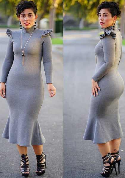 Grey Ruffle Mermaid Band Collar Long Sleeve Elegant Office Worker Party Midi Dress