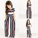 Multicolor Striped Print Round Neck Fashion Maxi Dress