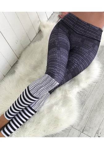 Black Striped Print High Waisted Sports Long Pants