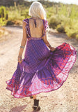 Purple Floral Draped Backless Slit Sashes High Waisted V-neck Flowy Boho Maxi Dress
