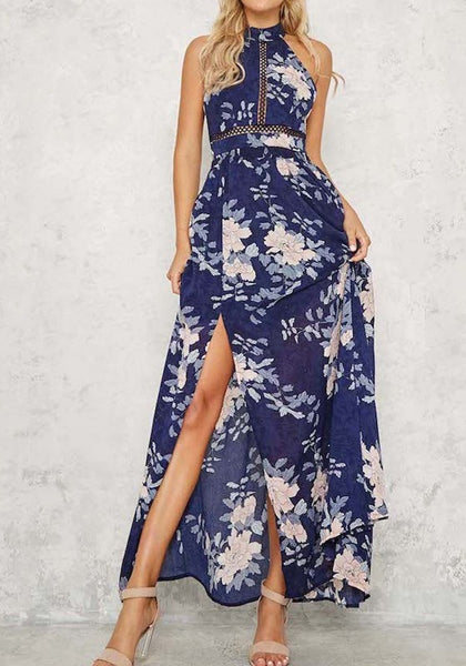 Sapphire Blue Floral Backless Side Slit Round Neck Sleeveless Bohemian Maxi Dress