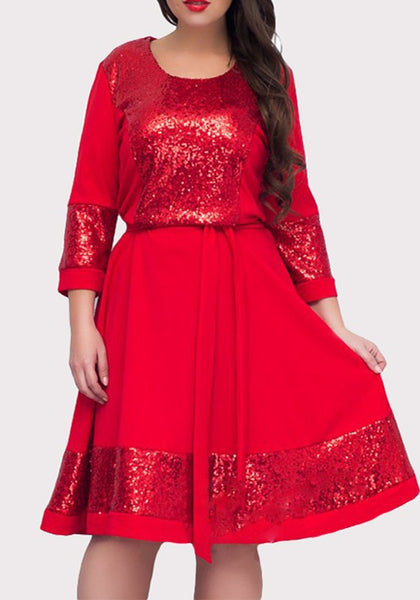 Red Patchwork Sequin Sashes Draped Plus Size Fashion Midi Dress