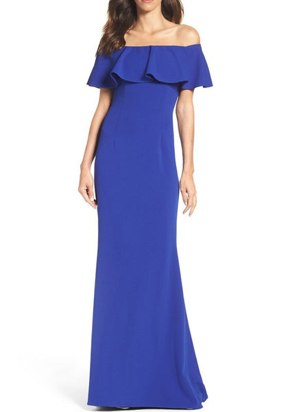 Blue Zipper Falbala Irregular Off Shoulder Elegant Maxi Dress