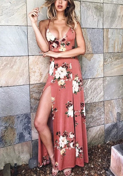 Pink Flowers Print Double Slit Backless Bohemian Thigh High Side Slit Maxi Dress