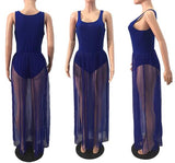 Sapphire Blue Grenadine Pleated Sheer Maxi Dress With Bodysuit Underneath