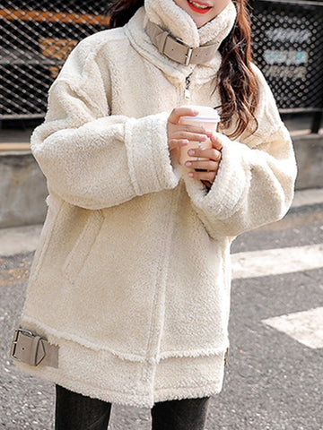 Rice White Patchwork Pockets Zipper Turndown Collar Fashion Outerwear