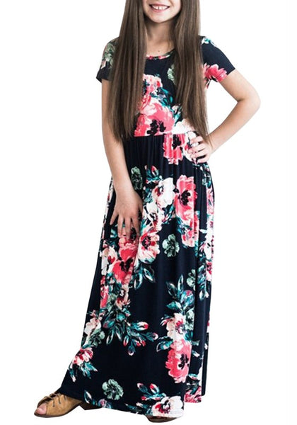 Navy Blue Flowers Pockets Draped Round Neck Children Bohemian Sweet Maxi Dress