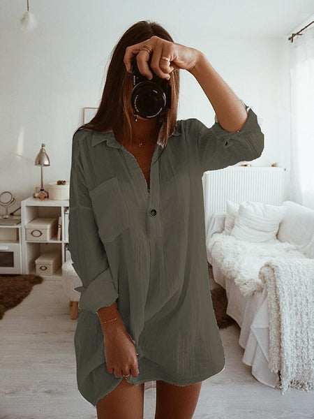 New Army Green Buttons Pockets Turndown Collar Long Sleeve Fashion Mini Dress