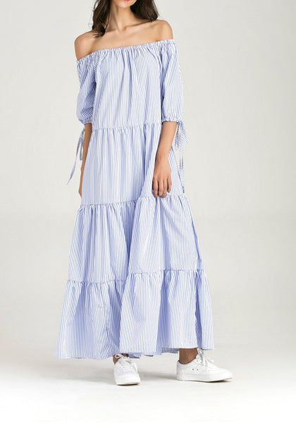 Blue Striped Draped Pleated Off Shoulder Backless Vintage Elbow Sleeve Party Maxi Dress