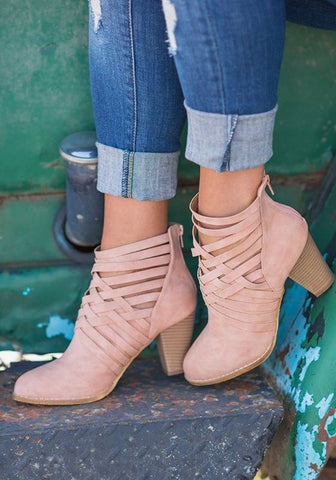 Pink Round Toe Chunky Cut Out Fashion Ankle Boots