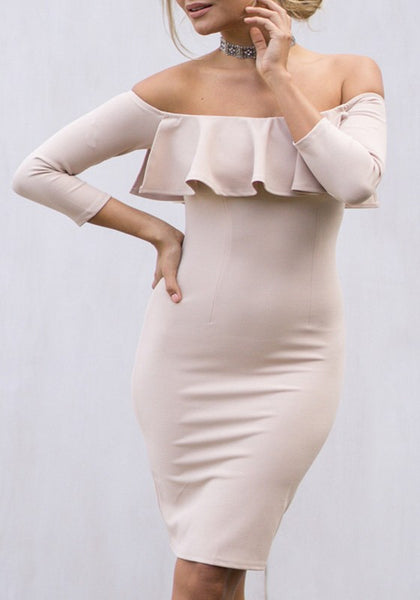 Pink Ruffle Backless Off Shoulder 3/4 Sleeve Elegant Bodycon Homecoming Midi Dress