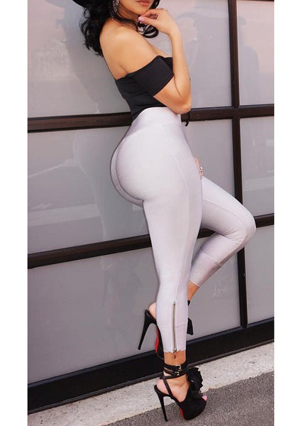 White Zipper High Waisted Casual Slim Long Pants