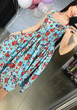 Blue Floral Print Pleated Square Neck Casual Maxi Dress