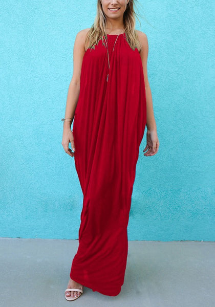Red Plain Draped Round Neck Sleeveless Casual Maxi Dress